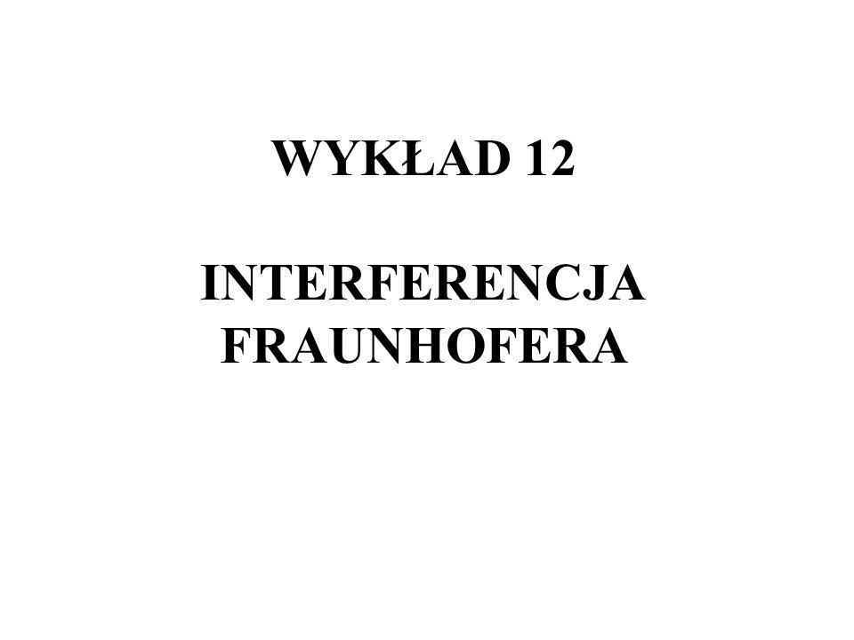 WYKŁAD 12 INTERFERENCJA FRAUNHOFERA