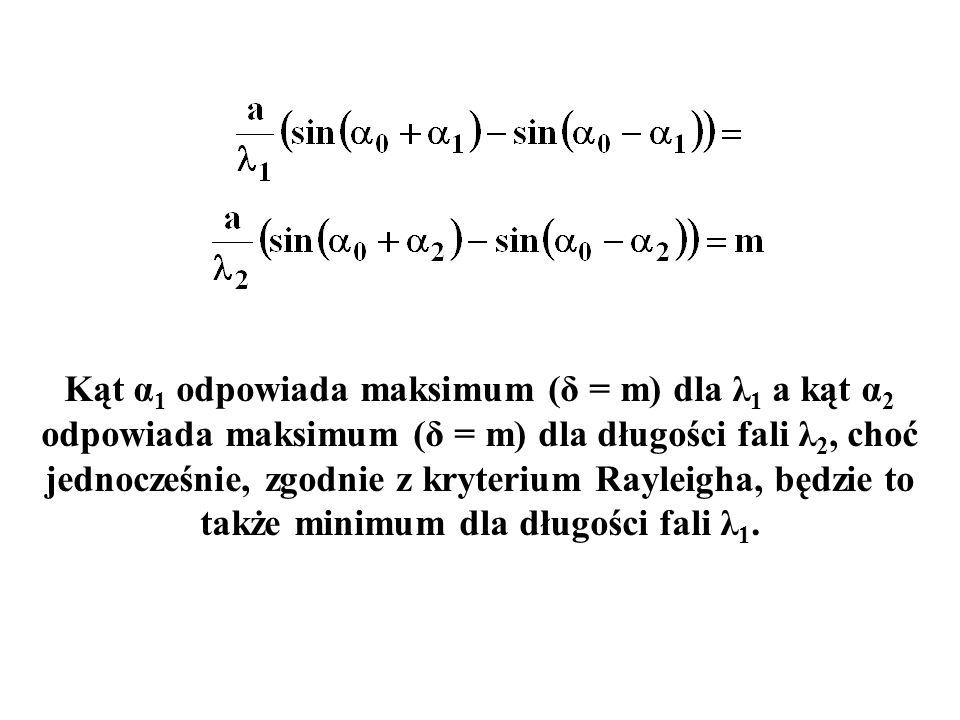Kąt α1 odpowiada maksimum (δ = m) dla λ1 a kąt α2 odpowiada maksimum (δ = m) dla długości fali λ2, choć jednocześnie, zgodnie z kryterium Rayleigha, będzie to także minimum dla długości fali λ1.