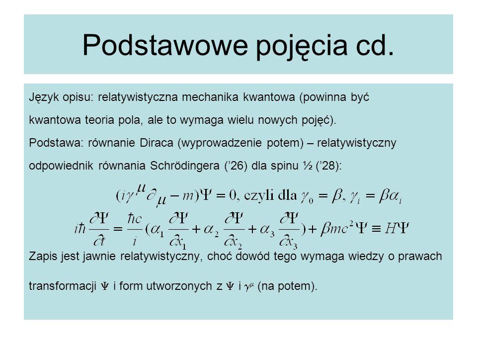 Podstawowe pojęcia cd. Język opisu: relatywistyczna mechanika kwantowa (powinna być. kwantowa teoria pola, ale to wymaga wielu nowych pojęć).