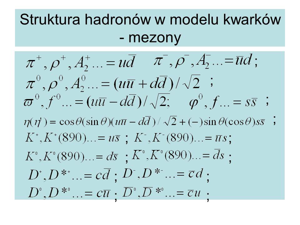 Struktura hadronów w modelu kwarków - mezony