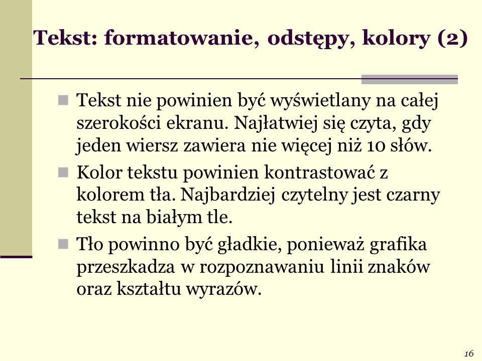 Tekst: formatowanie, odstępy, kolory (2)