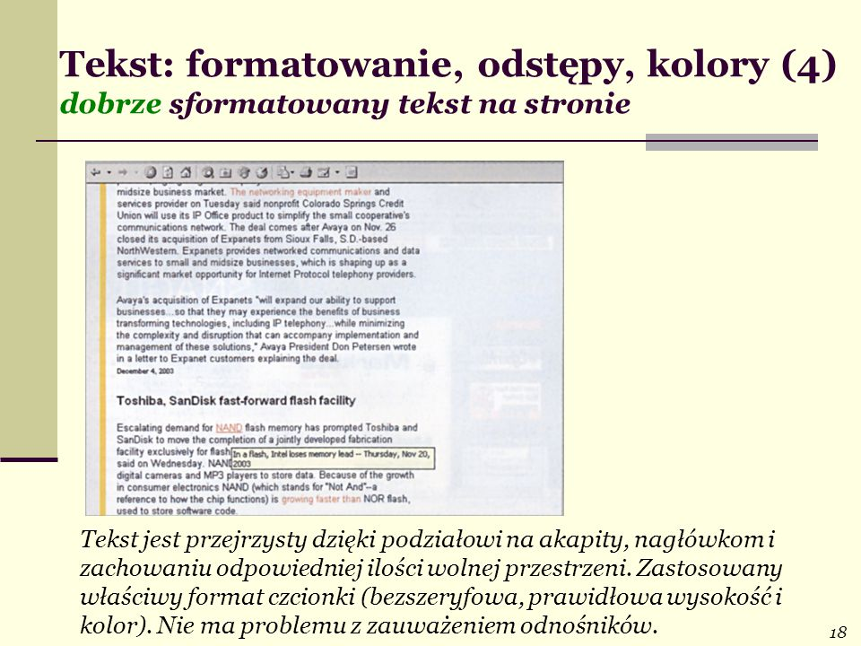 Tekst: formatowanie, odstępy, kolory (4) dobrze sformatowany tekst na stronie
