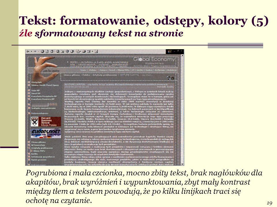 Tekst: formatowanie, odstępy, kolory (5) źle sformatowany tekst na stronie