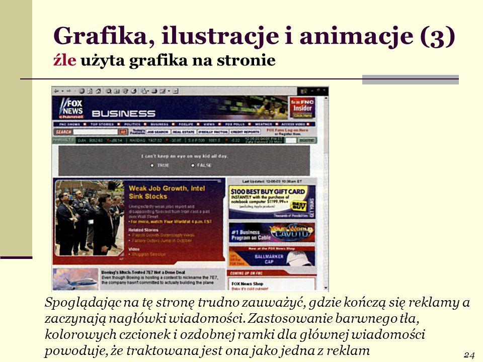 Grafika, ilustracje i animacje (3) źle użyta grafika na stronie