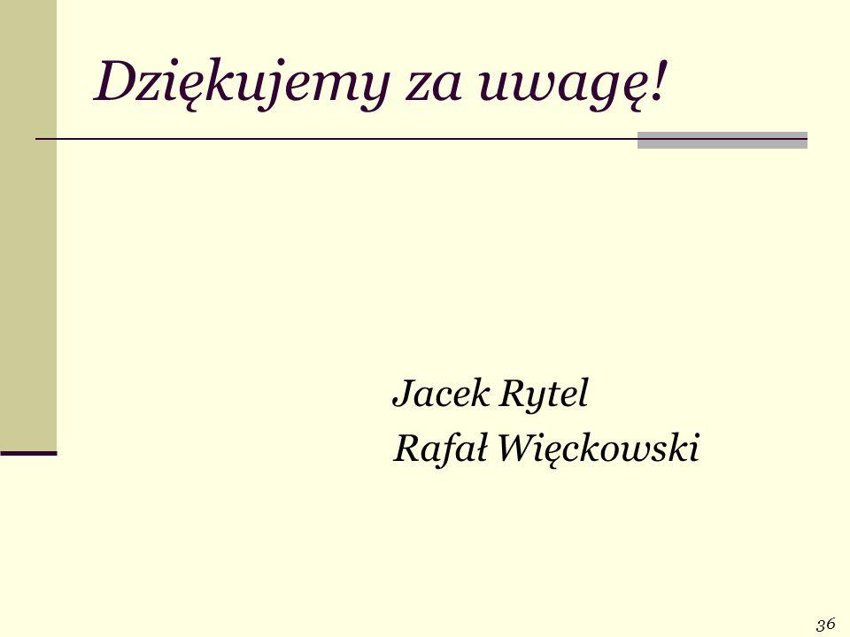 Dziękujemy za uwagę! Jacek Rytel Rafał Więckowski