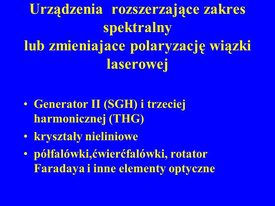Urządzenia rozszerzające zakres spektralny lub zmieniajace polaryzację wiązki laserowej