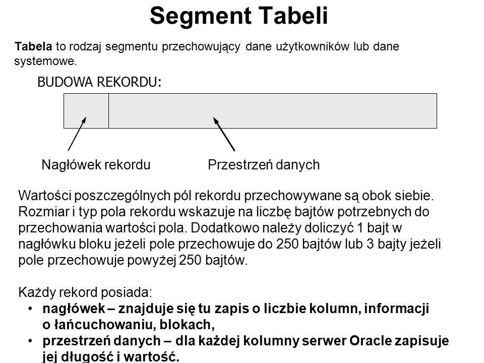 Segment Tabeli BUDOWA REKORDU: Nagłówek rekordu Przestrzeń danych