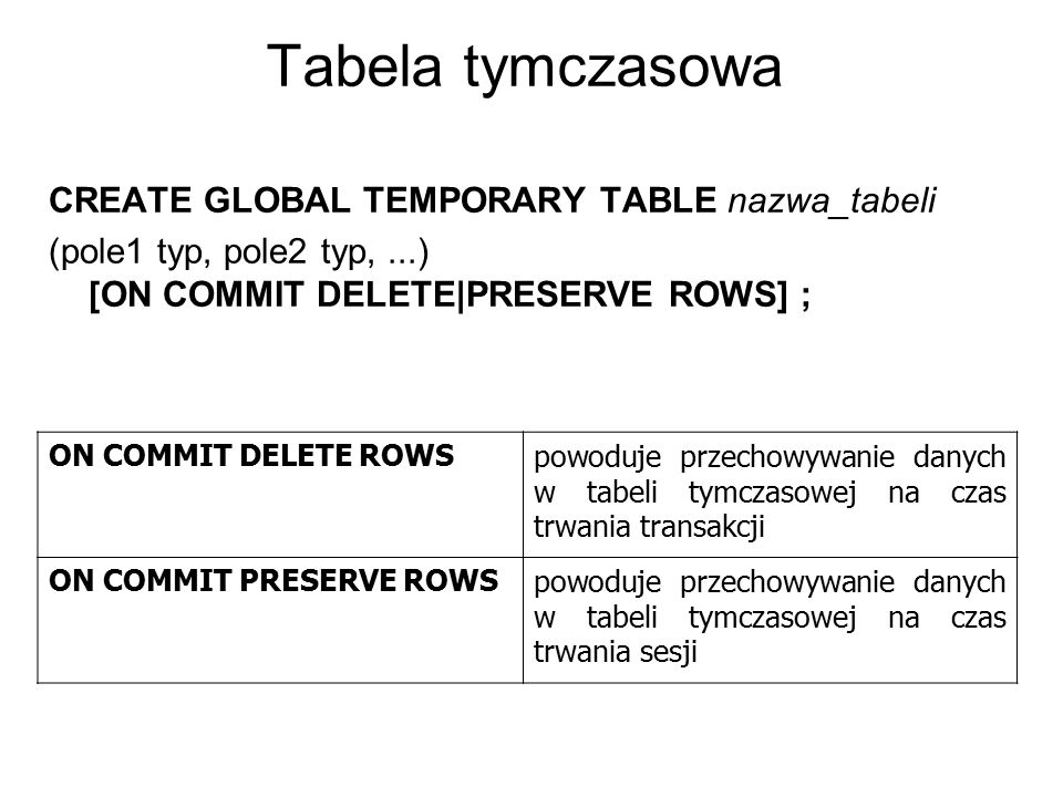 Tabela tymczasowa CREATE GLOBAL TEMPORARY TABLE nazwa_tabeli