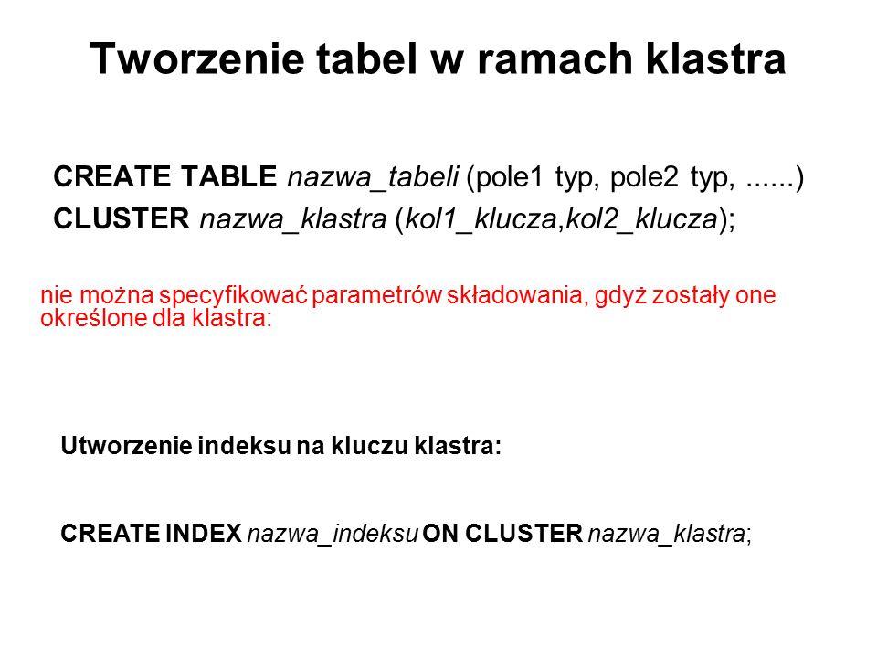 Tworzenie tabel w ramach klastra