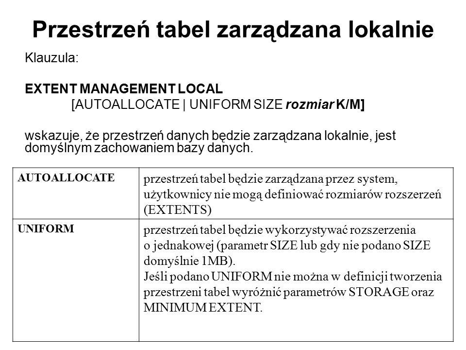 Przestrzeń tabel zarządzana lokalnie