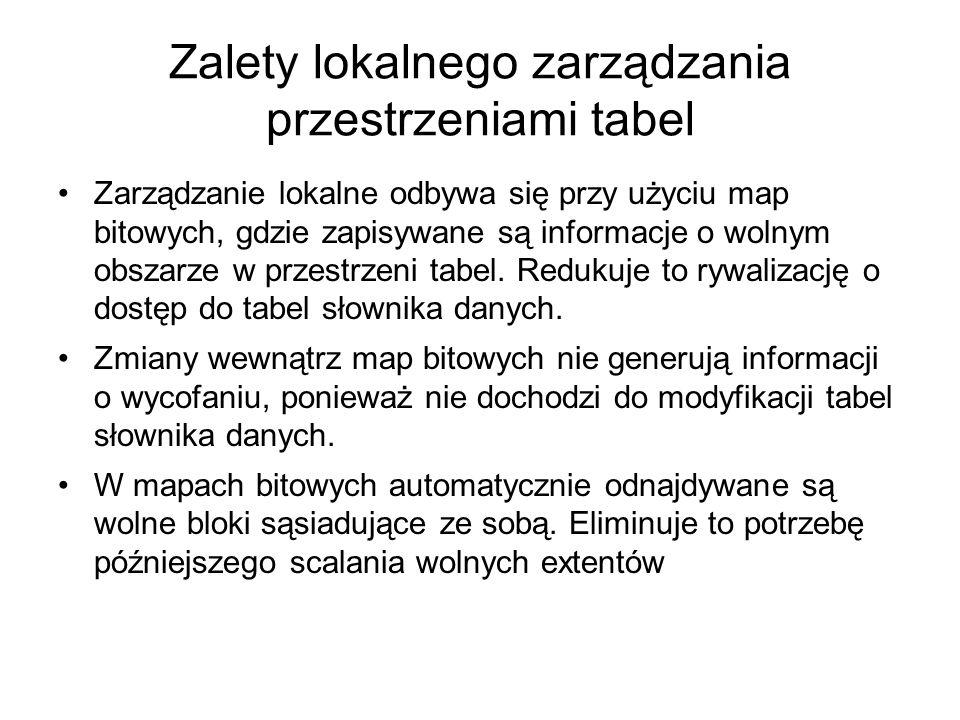Zalety lokalnego zarządzania przestrzeniami tabel