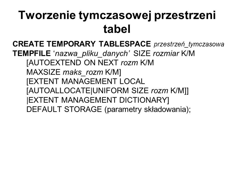 Tworzenie tymczasowej przestrzeni tabel