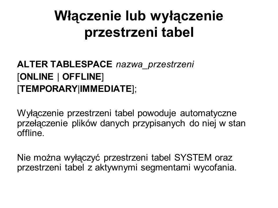 Włączenie lub wyłączenie przestrzeni tabel