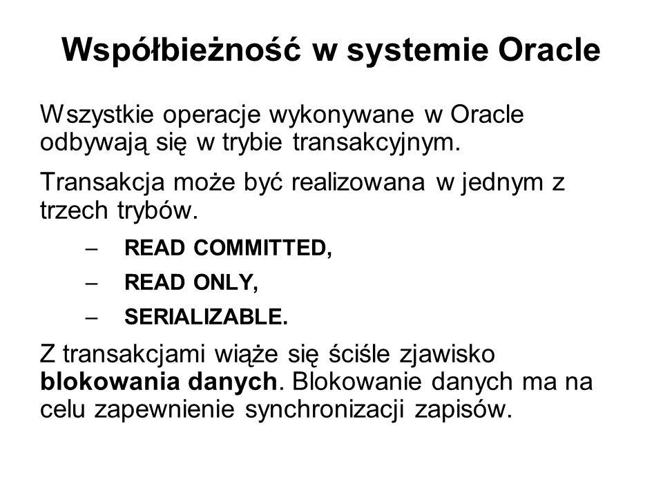 Współbieżność w systemie Oracle