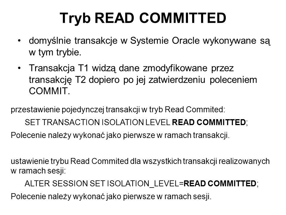 Tryb READ COMMITTED domyślnie transakcje w Systemie Oracle wykonywane są w tym trybie.