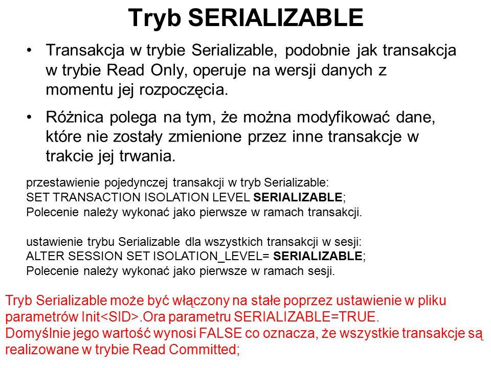 Tryb SERIALIZABLE Transakcja w trybie Serializable, podobnie jak transakcja w trybie Read Only, operuje na wersji danych z momentu jej rozpoczęcia.