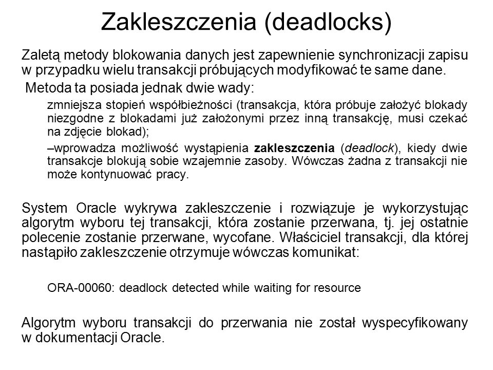 Zakleszczenia (deadlocks)