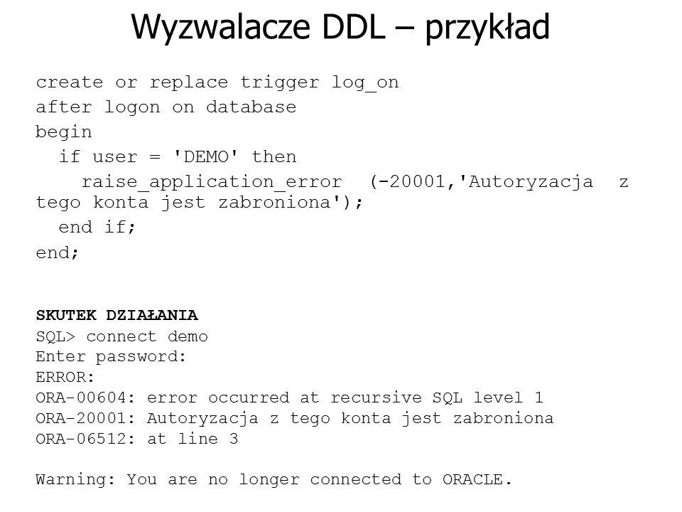 Wyzwalacze DDL – przykład