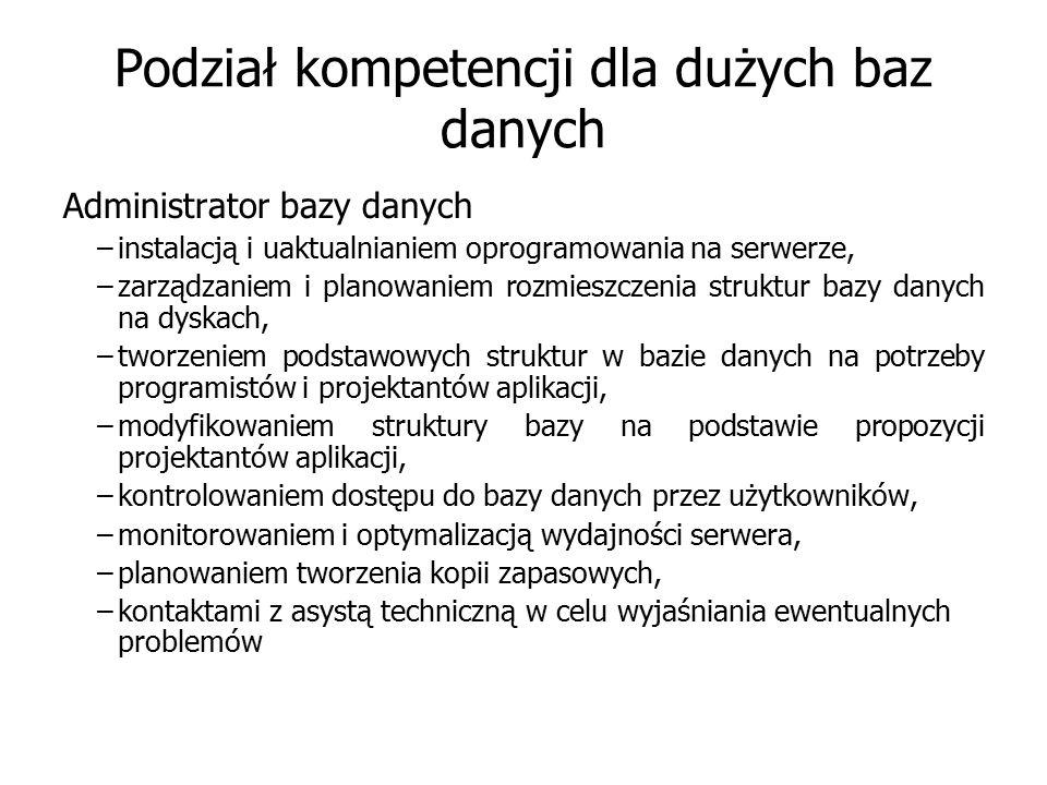 Podział kompetencji dla dużych baz danych