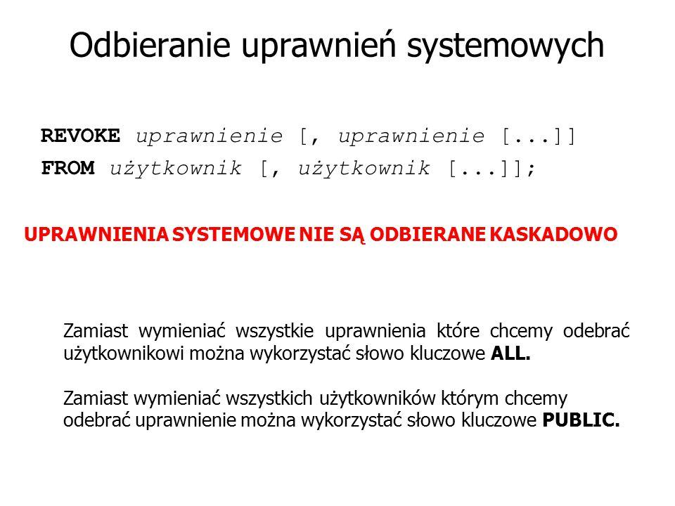 Odbieranie uprawnień systemowych