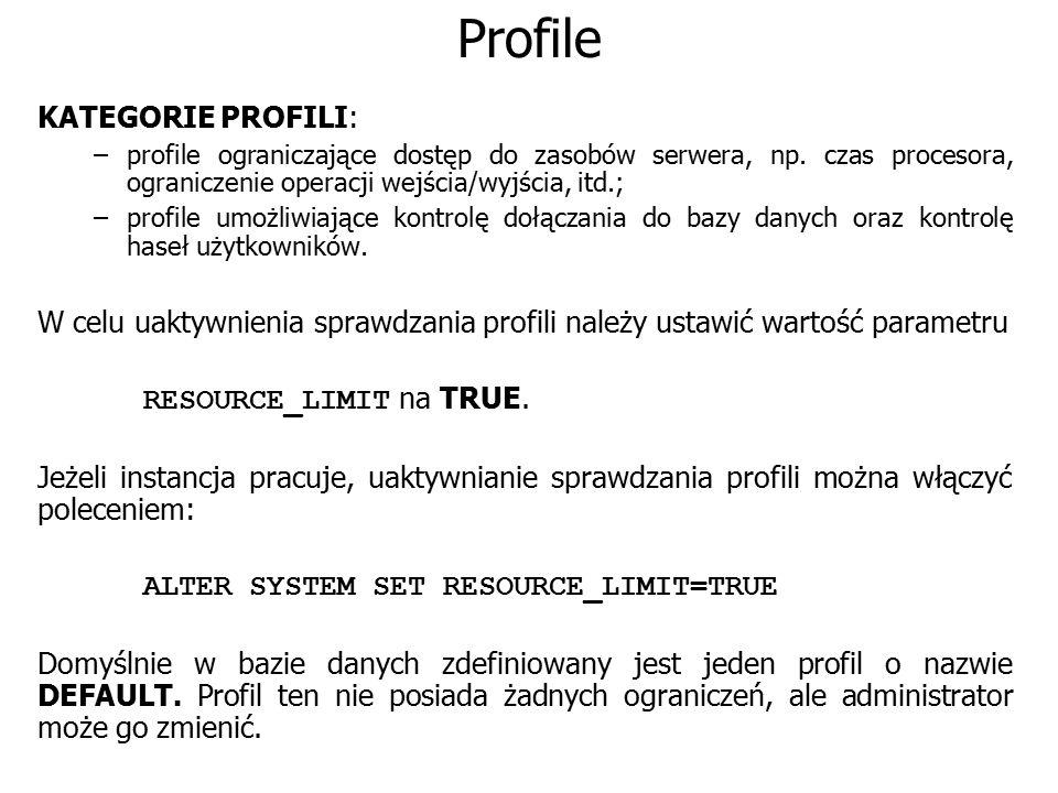 Profile KATEGORIE PROFILI: