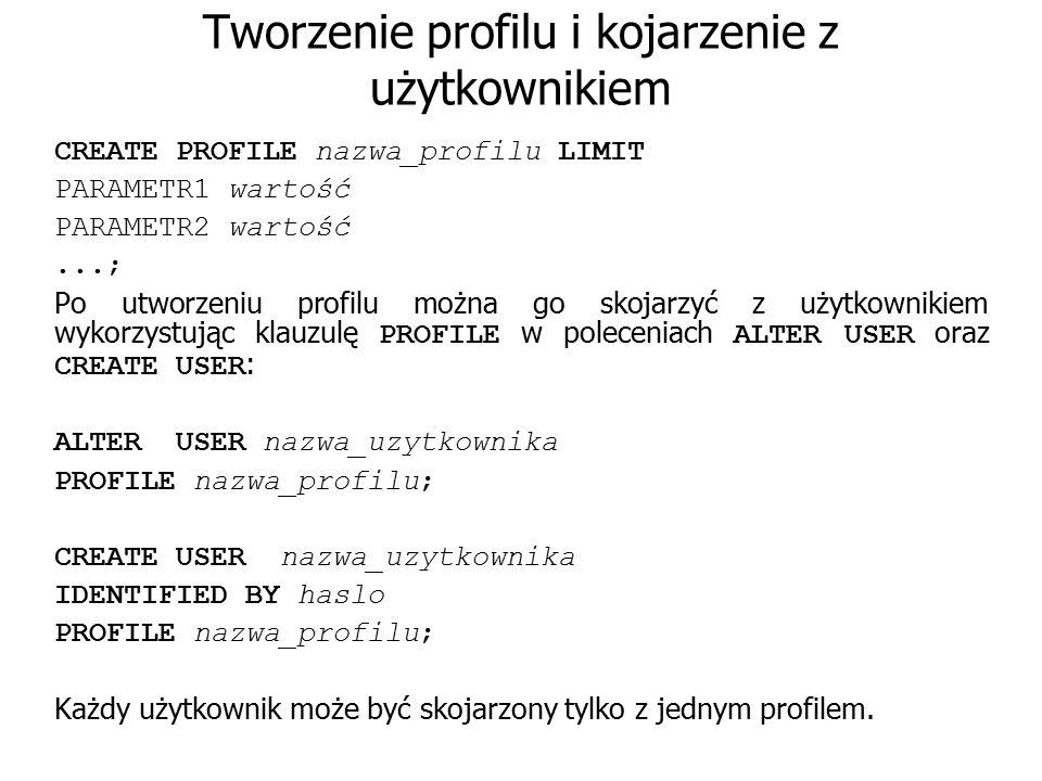 Tworzenie profilu i kojarzenie z użytkownikiem