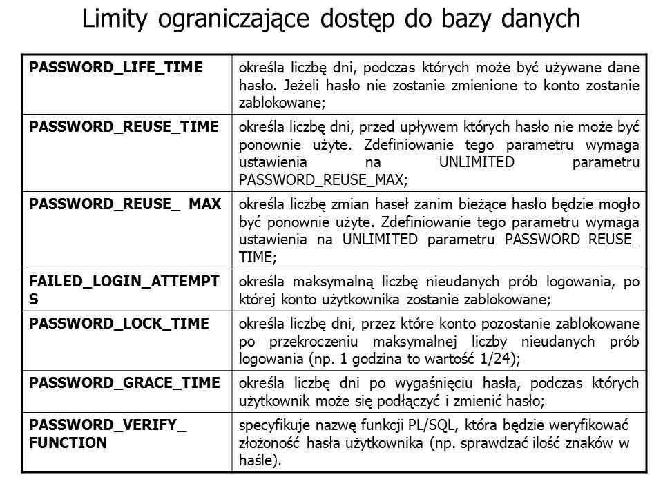 Limity ograniczające dostęp do bazy danych