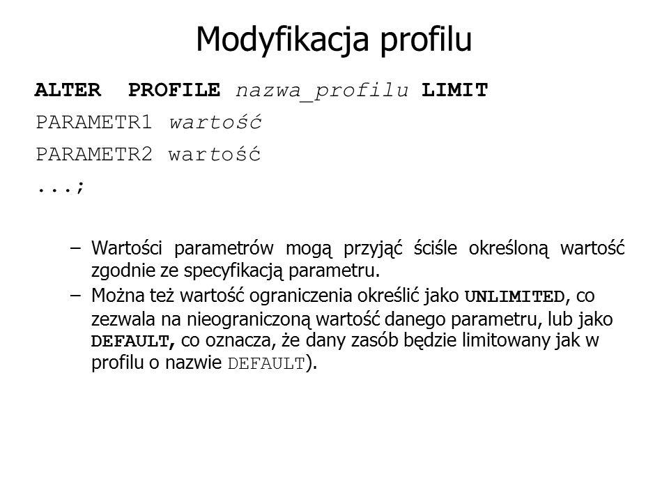 Modyfikacja profilu ALTER PROFILE nazwa_profilu LIMIT