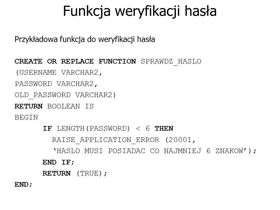 Funkcja weryfikacji hasła