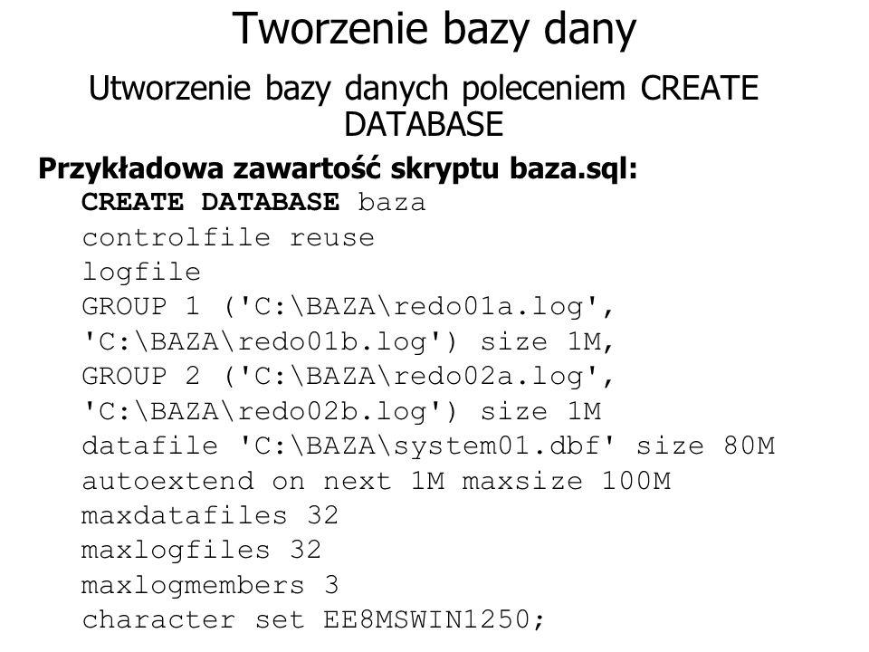 Utworzenie bazy danych poleceniem CREATE DATABASE