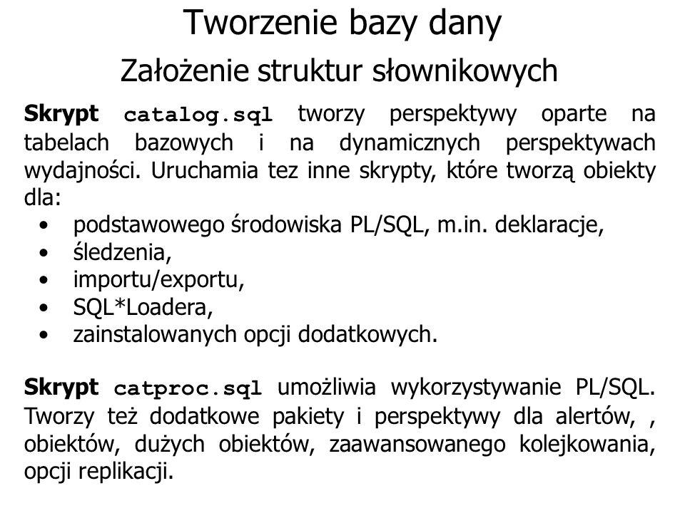 Założenie struktur słownikowych