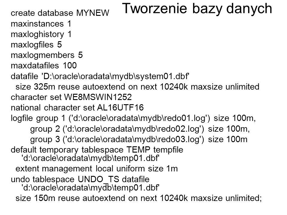 Tworzenie bazy danych create database MYNEW maxinstances 1