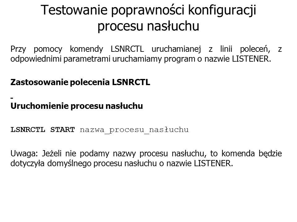 Testowanie poprawności konfiguracji procesu nasłuchu