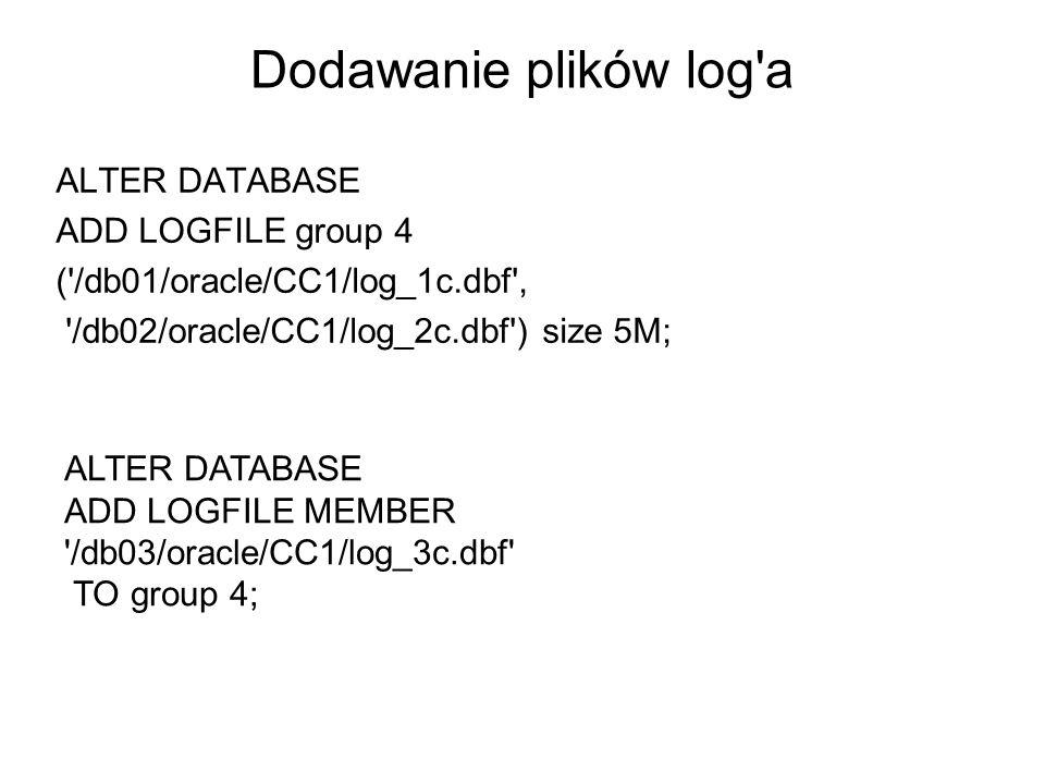Dodawanie plików log a ALTER DATABASE ADD LOGFILE group 4