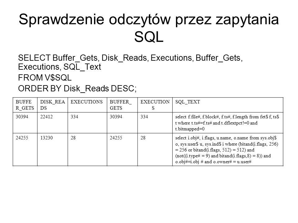 Sprawdzenie odczytów przez zapytania SQL