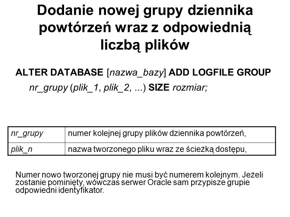 Dodanie nowej grupy dziennika powtórzeń wraz z odpowiednią liczbą plików