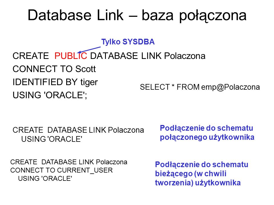 Database Link – baza połączona