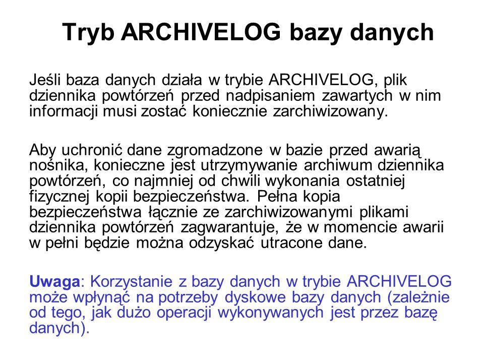 Tryb ARCHIVELOG bazy danych
