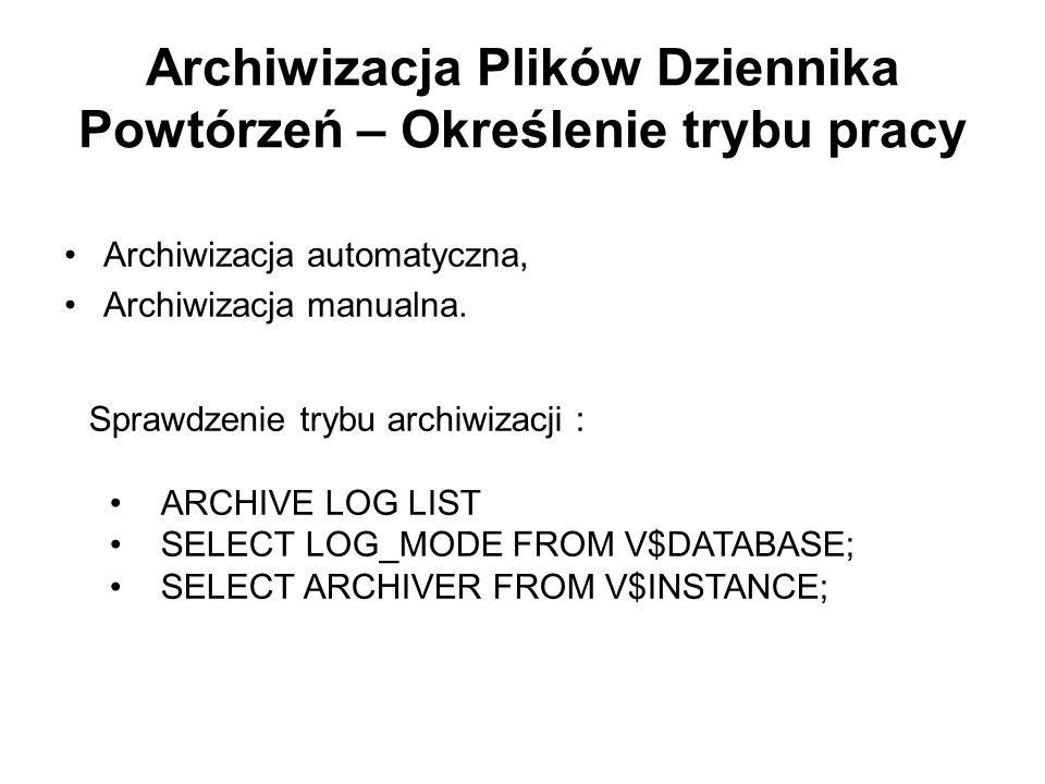 Archiwizacja Plików Dziennika Powtórzeń – Określenie trybu pracy