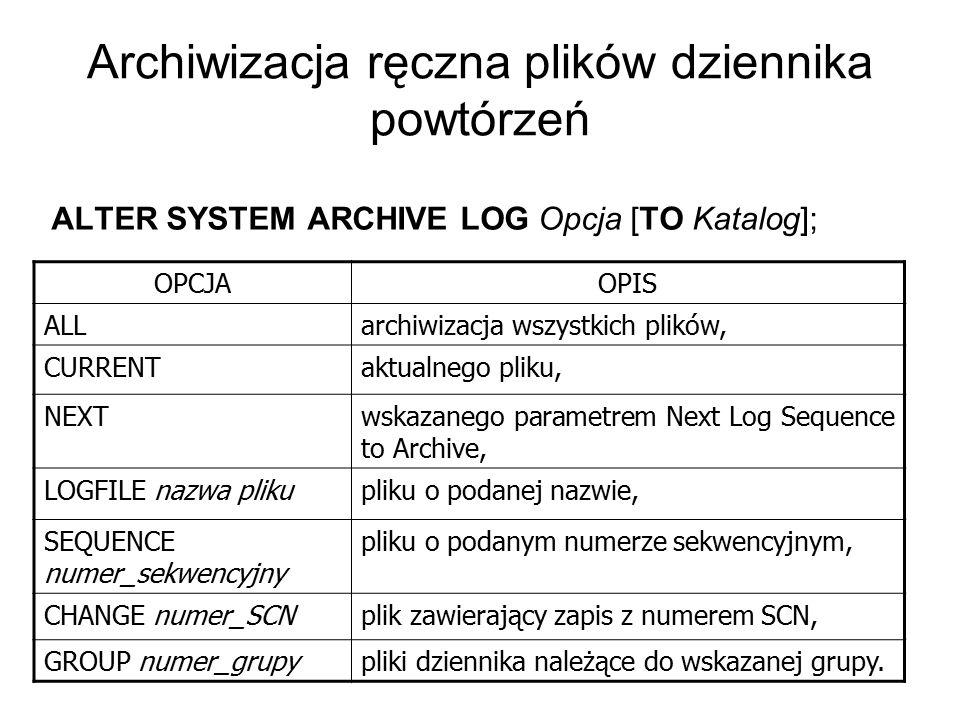 Archiwizacja ręczna plików dziennika powtórzeń