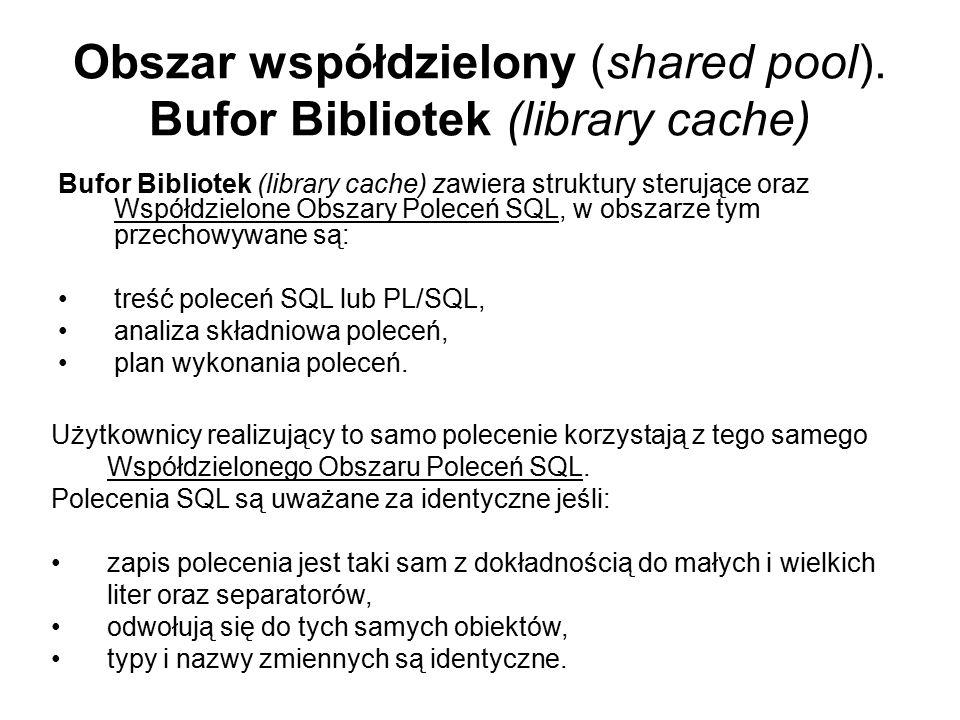 Obszar współdzielony (shared pool). Bufor Bibliotek (library cache)