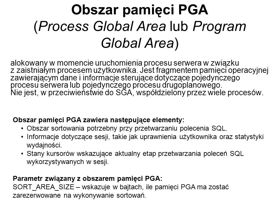 Obszar pamięci PGA (Process Global Area lub Program Global Area)