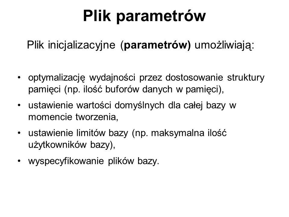 Plik parametrów Plik inicjalizacyjne (parametrów) umożliwiają: