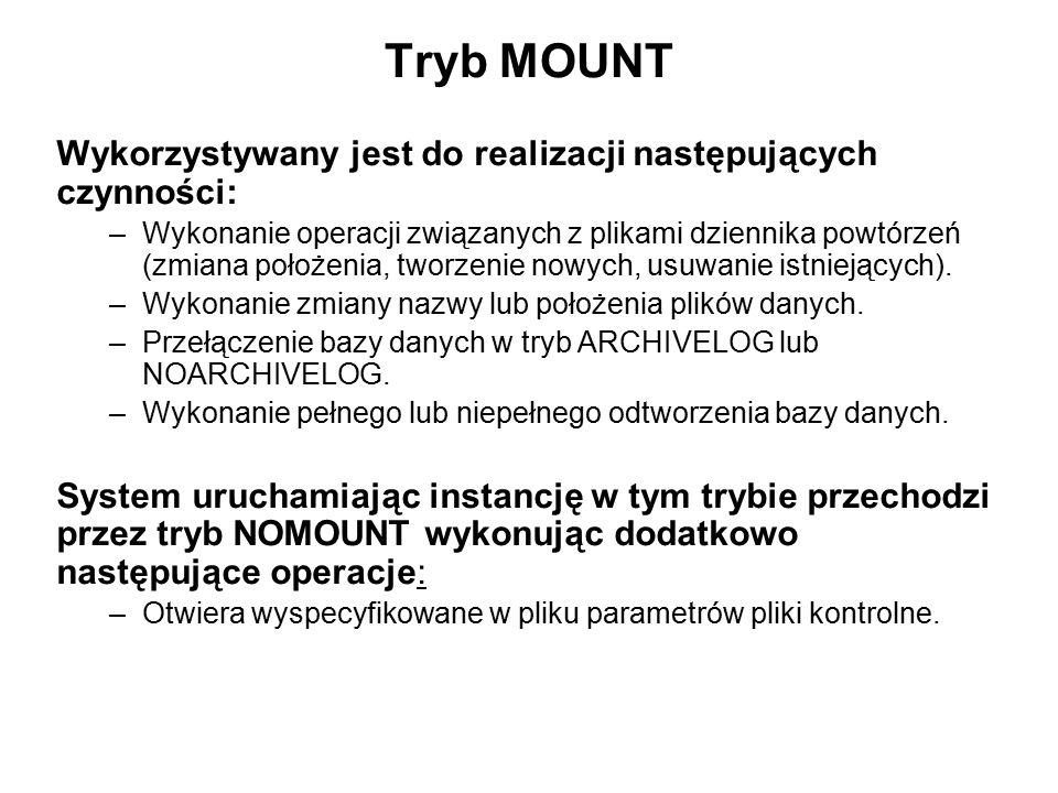 Tryb MOUNT Wykorzystywany jest do realizacji następujących czynności: