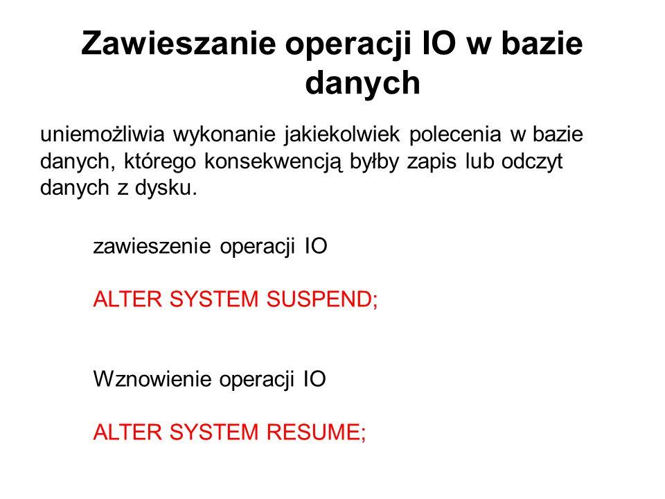 Zawieszanie operacji IO w bazie danych