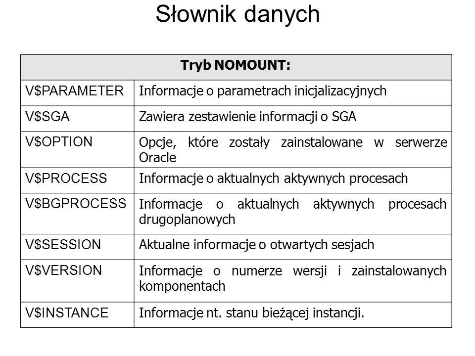 Słownik danych Tryb NOMOUNT: V$PARAMETER