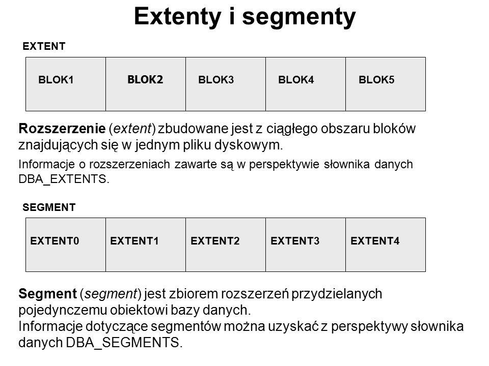 Extenty i segmenty EXTENT. BLOK1. BLOK2. BLOK3. BLOK4. BLOK5. SEGMENT. EXTENT0. EXTENT1. EXTENT2.