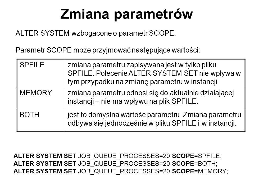 Zmiana parametrów ALTER SYSTEM wzbogacone o parametr SCOPE.