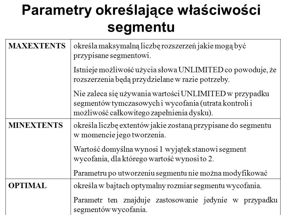 Parametry określające właściwości segmentu