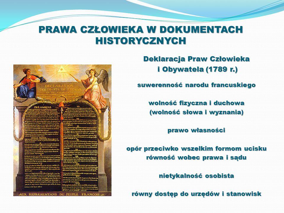 PRAWA CZŁOWIEKA W DOKUMENTACH HISTORYCZNYCH